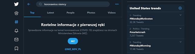 Taki komunikat widzimy na platformie Twitter, gdy wyszukujemy informacji o koronawirusie, fot. Jakub Krawczyński
