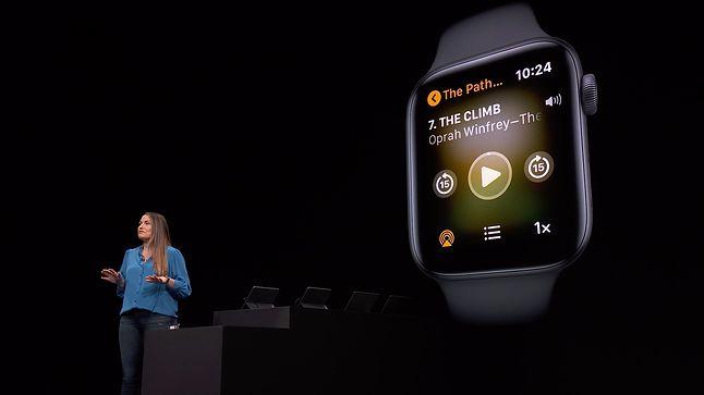 Tarcza zegarka z kontrolkami odtwarzania audiobooka