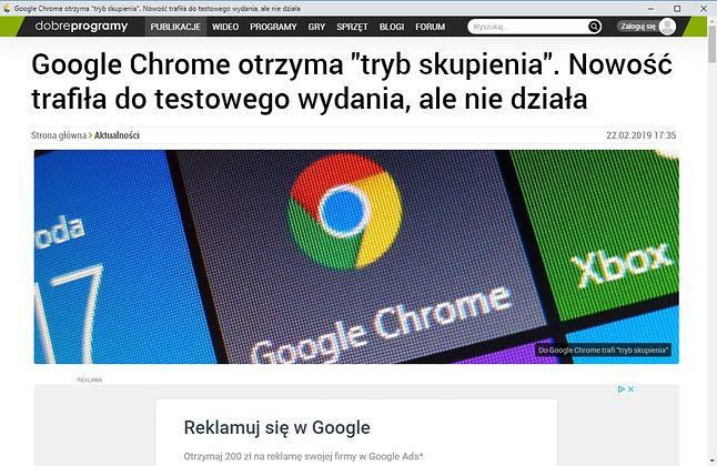 Tryb skupienia w Chrome: wybrana karta jako nowe okno bez pasków nawigacyjnych w górnej części.