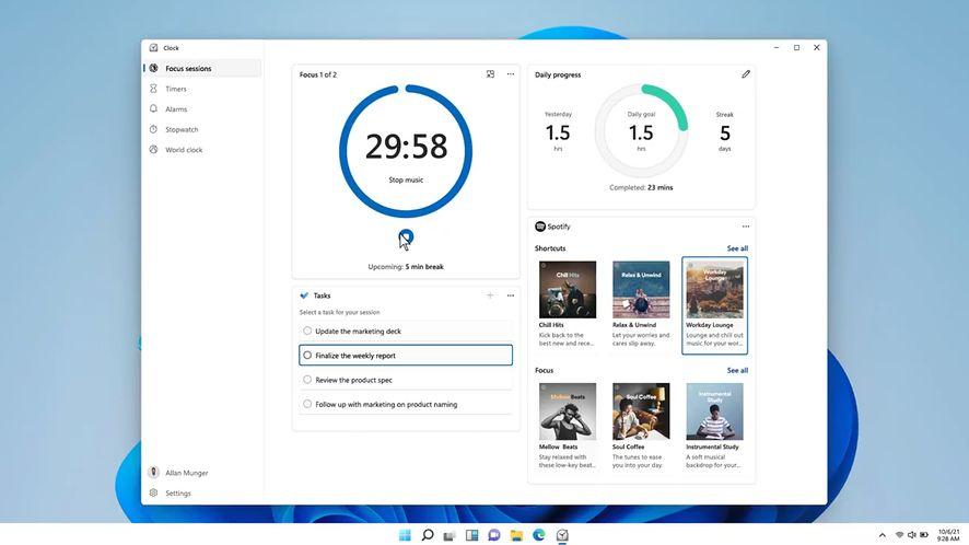 Zegar w Windows 11
