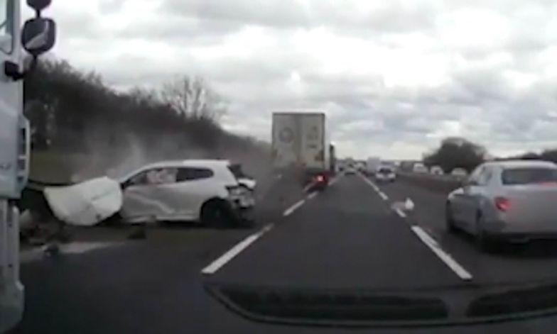 Polak spowodował groźny wypadek w Wielkiej Brytanii. Policja pokazuje nagranie