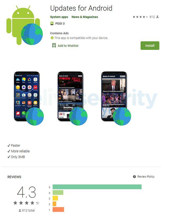 Updates for Android w Sklepie Play, źródło: ESET.