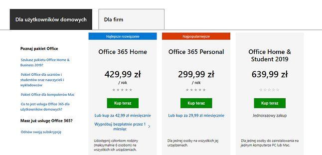 Oficjalne ceny Office'a 365 i 2019 dla użytkowników domowych, źródło: Microsoft.