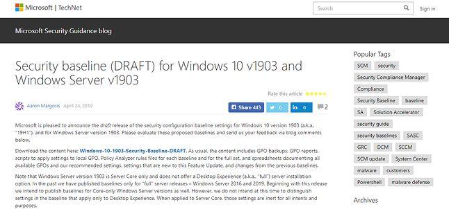 Dyskusja o nowych zaleceniach na łamach Microsoft Security Guidance blog, źródło: Microsoft.