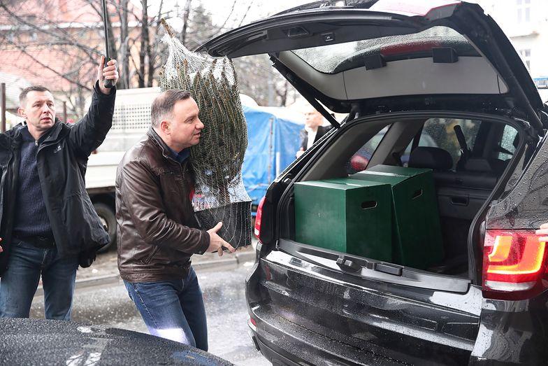 Andrzej Duda na świątecznych zakupach. Wybór choinki zaskakuje
