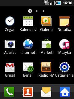 Android 2.2.1 Froyo i ciemny (jedyny) motyw menu.