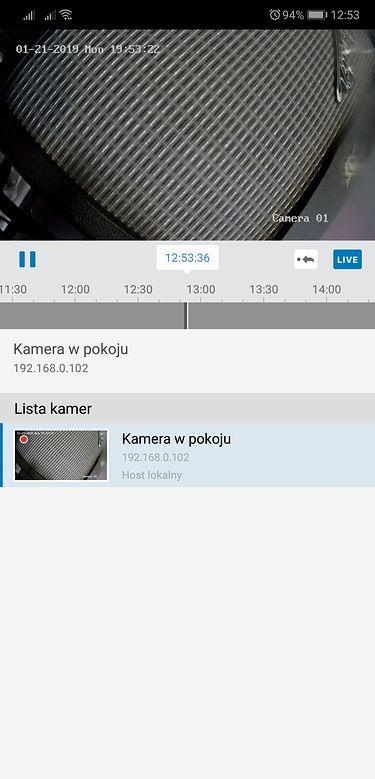 Synology DS Cam na Androidzie: podgląd z wybranej kamery i oś czasu.