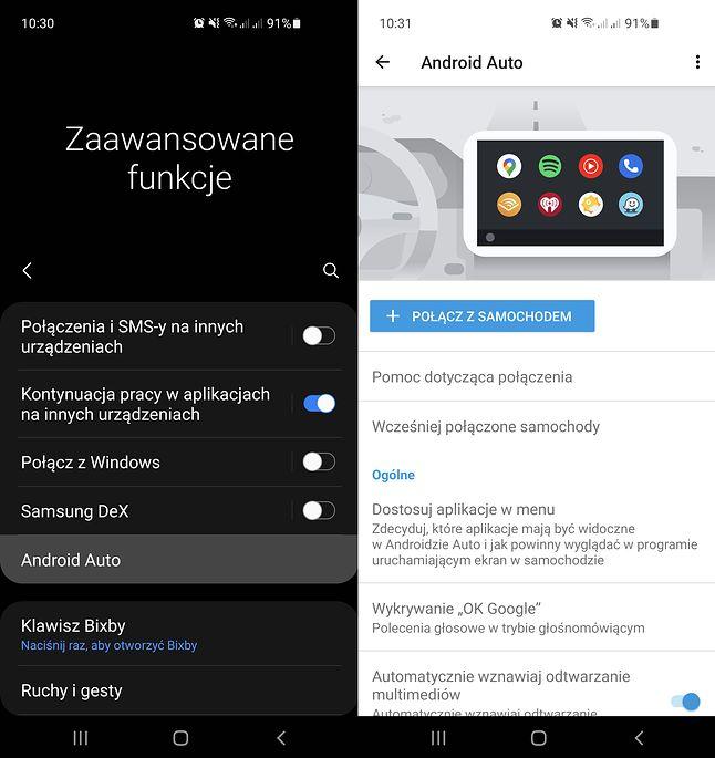 """Ustawienia Androida Auto w Androidzie 11. Nic nie wskazuje na to, by system """"nie był oficjalnie obsługiwany w Polsce"""", fot. Oskar Ziomek."""