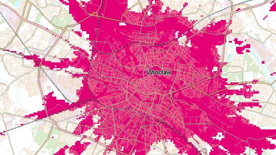 Zaktualizowana mapa 5G T-Mobile we Wrocławiu