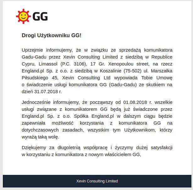 zrzut ekranu z komunikatem do użytkowników GG