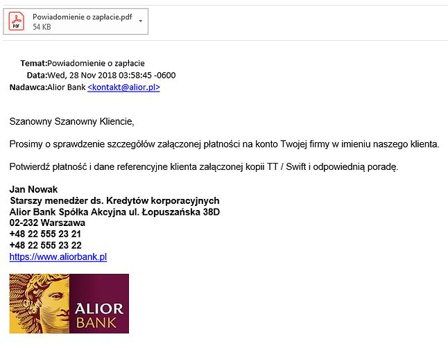 Fałszywa wiadomość e-mail.