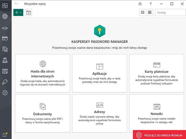 Kaspersky Password Manager – główny ekran aplikacji.