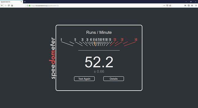 Firefox i wynik w teście Speedometer 2.0.