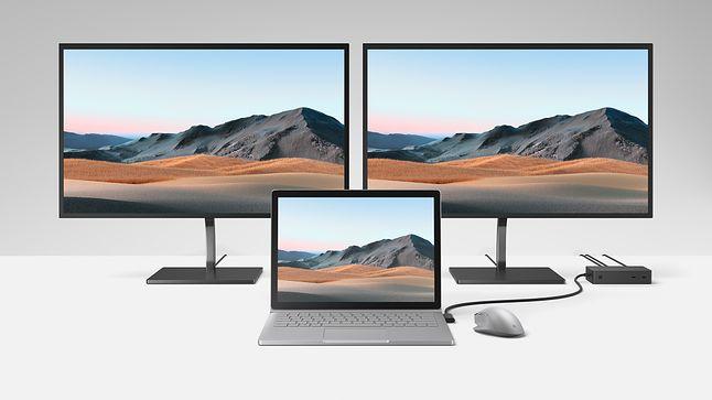 Surface Book 3 podpięty przez Surface Dock do zewnętrznych monitorów, fot. Microsoft