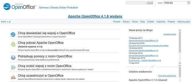 Strona domowa OpenOffice.org. Schludnie, przestronnie i tylko jeden błąd ortograficzny!