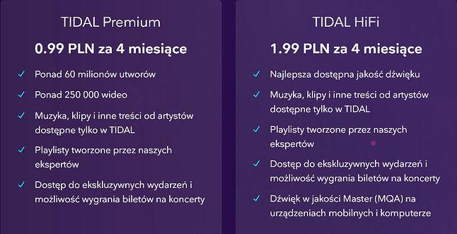 Dwa atrakcyjne pakiety, ale tylko dla nowych użytkowników (fot. Tidal)