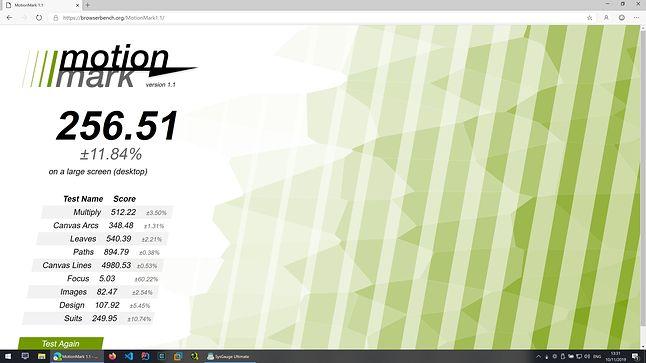 Microsoft Edge Dev - MotioMark - Wynik: 256.51