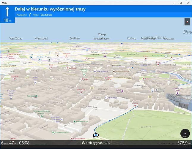 Mapy Windows obsługują naturalnie również tryb nawigacji. Jest to szczególnie zabawne na komputerze stacjonarnym