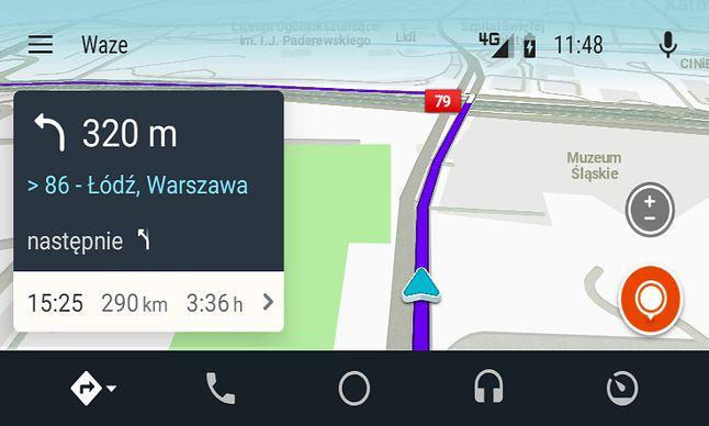 Nawigacja Waze w trybie dziennych kolorów.
