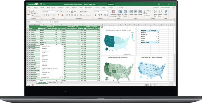 Nowe typy danych obejmują także dane geograficzne.