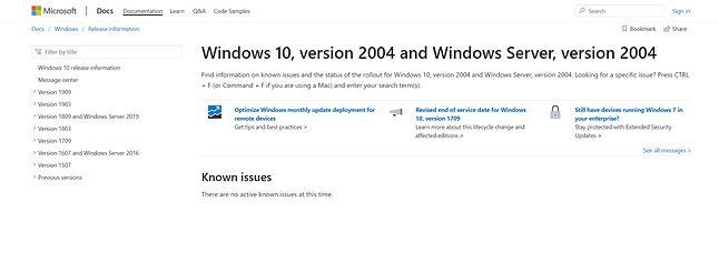 Pierwsze informacje o Windows 10 20H1 są już dostępne w dokumentacji na stronach Microsoftu, źródło: docs.microsoft.com