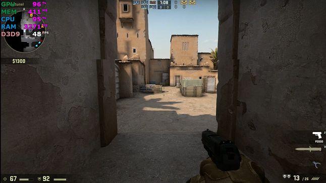 CS:GO, 1080p, detale minimalne, 30-60 FPS.