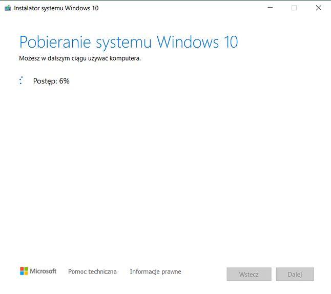 Pobieranie Windowsa 10 przez Media Creation Tool.
