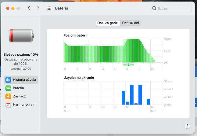 10% po 2 godzinach pracy - z moim MacBookiem Air M1 ewidentnie coś było nie tak...