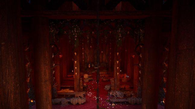 Wnętrze świątyni. Wyraźnie widać przesunięcie ołtarza do nowej części świątyni