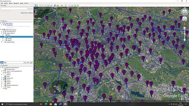 Mapa nadajników i radiolinii sieci Play w Krakowie