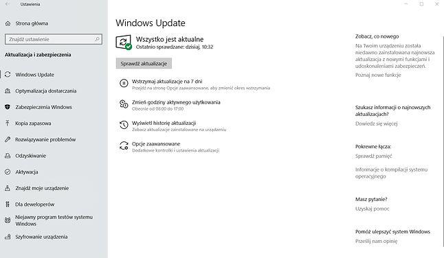 Nowe ustawienia Windows Update w Windows 10 1903.