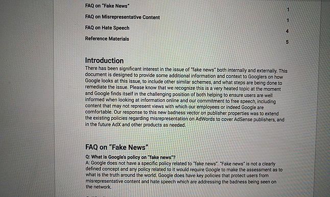 Definicja fake newsa według Google'a, a właściwie jej brak, fot. Project Veritas