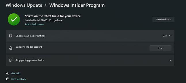 Brakujące ustawienia Windows Insider