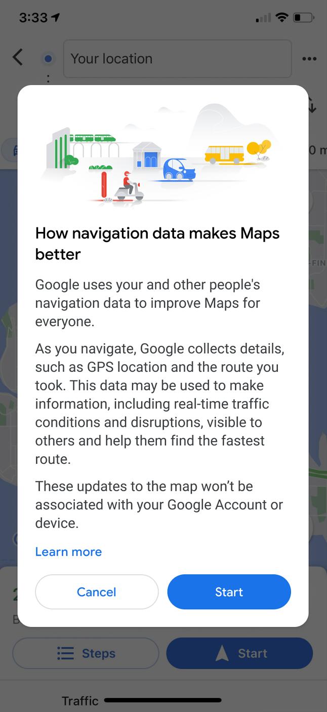 Komunikat o konieczności udostępnienia danych w Mapach Google