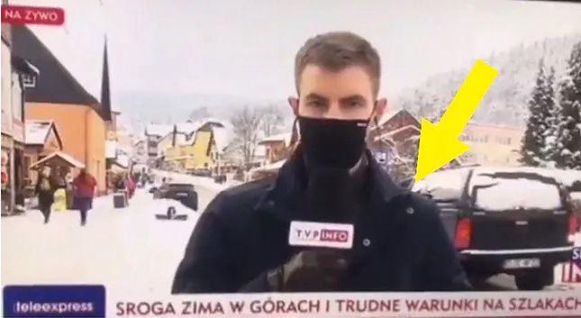Wpadka w TVP w transmisji na żywo. Spójrzcie na bohatera drugiego planu
