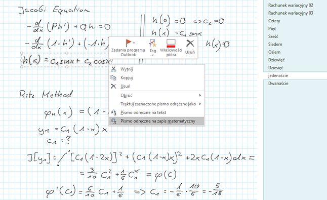 możliwości konwersji pisma odręcznego w klasycznym OneNote