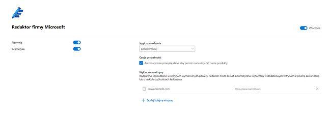 Redaktor domyślnie przesyła dane Microsoftowi, by dodatkowo ulepszać aplikację.