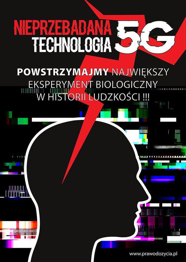 Ulotka promująca protest przeciwko 5G w Warszawie