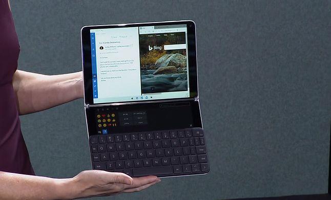 Surface Neo z fizyczną klawiaturą, fot. zrzut ekranu z prezentacji Microsoftu.