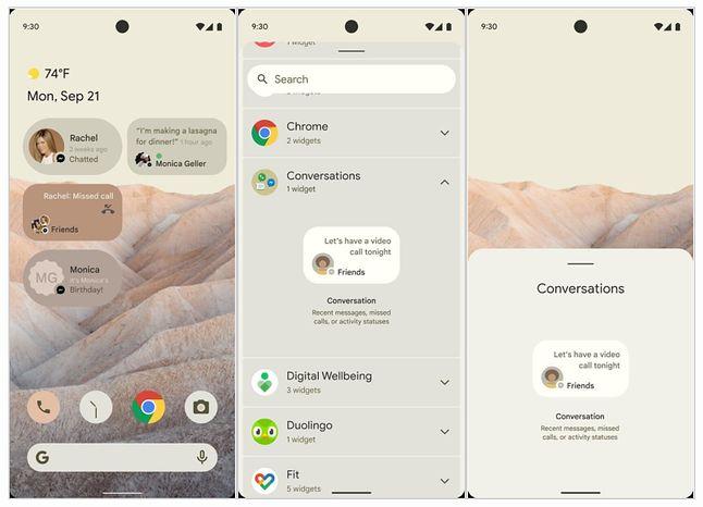 Rzekome zrzuty ekranu z Androida 12, fot. XDA Developers.