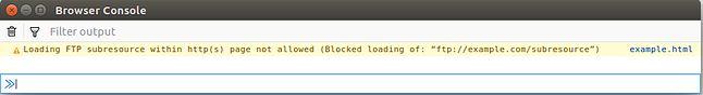 Zablokowane ładowanie zawartości z wykorzystaniem FTP. Źródło: Mozilla Security Blog.