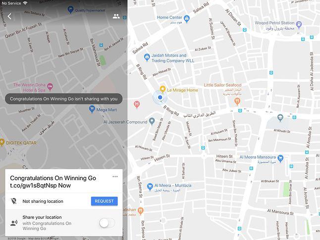 Spam w aplikacji Mapy Google na iPadzie. źródło: bleepingcomputer.com