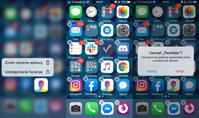 Usuwanie FaceApp w iOS 13.