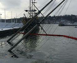 Zatonął jacht żaglowy w marinie w Gdyni