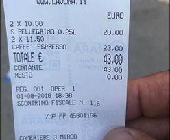 200 zł za kawę i wodę. Tyle musiał zapłacić turysta w Wenecji