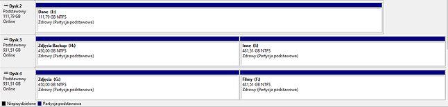 Zarządzanie dyskami w Windows 10. Dopiero tu dowiadujemy się, które partycje znajdują się na fizycznie tym samym dysku twardym.