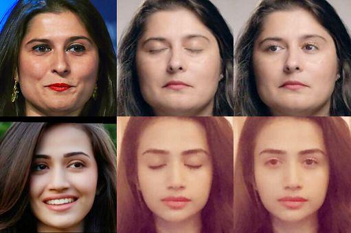 Od lewej: przykładowe zdjęcie osoby z otwartymi oczami, zdjęcie z zamkniętymi oczami, to samo zdjęcie po edycji przez sztuczną inteligencję, źródło: fragment publikacji z badaniami, Facebook.
