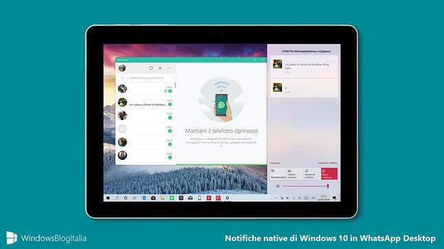 Wizualizacja powiadomień WhatsAppa w Centrum Akcji (WindowsBlogItalia)