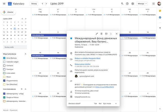 Widok mojego kalendarza Google