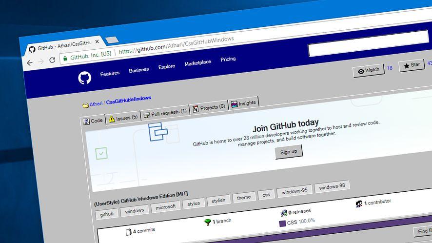 GitHub dla fanów Windows 95: jak zmienić wygląd serwisu dla programistów?
